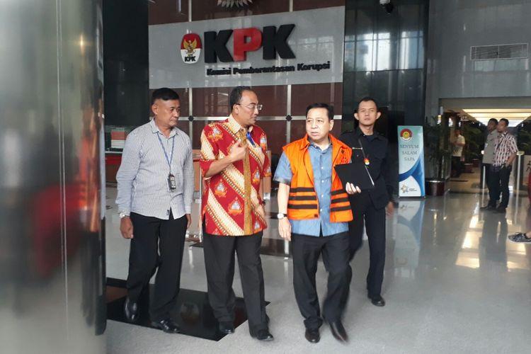Mantan Ketua DPR Setya Novanto selesai menjalani pemeriksaan sebagai saksi untuk dua tersangka kasus e-KTP, Selasa (27/3/2018).