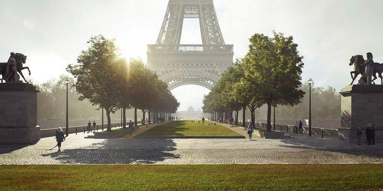 Desain penambahan area hijau di sekitar Menara Eiffel, Paris, Perancis.