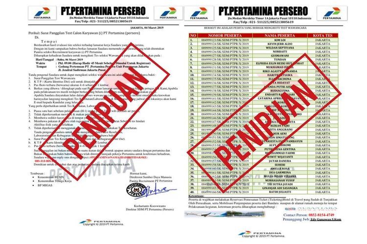 Surat palsu mengatasnamakan PT Pertamina