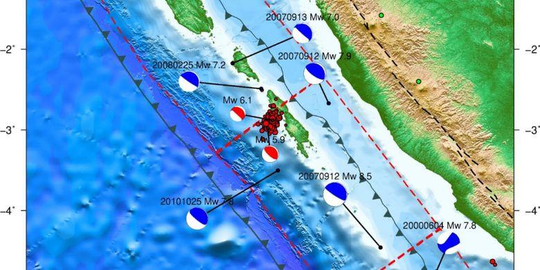 Pusat gempa di Nias Selatan, Selasa (5/2/2019) dini hari.