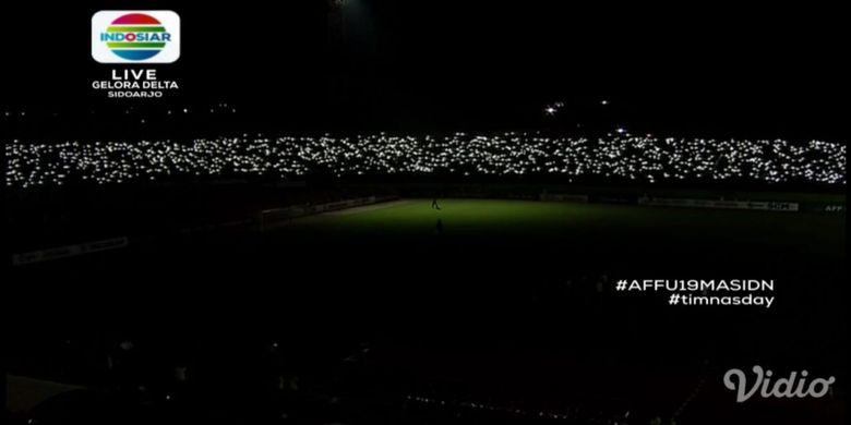 Insiden Mati Lampu Warnai Semifinal Piala AFF U-19 di Stadion Deltras Sidoarjo, Kamis (12/7/2018)