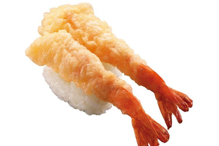 Ebi-ten Nigiri Sushi (120 yen sebelum pajak)