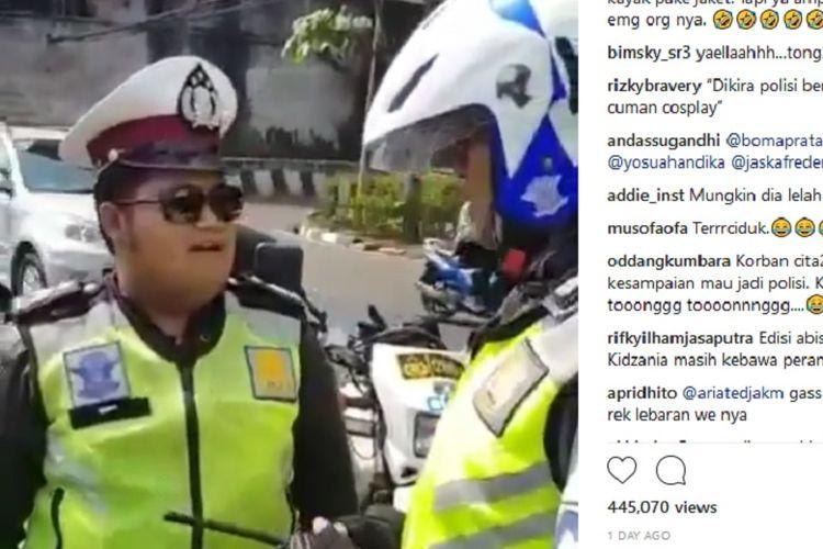 Seorang polisi gadungan (yang bertopi) bernama Joseph Anugerah (20) ditangkap polisi di Jakarta, Senin (16/7/2018)
