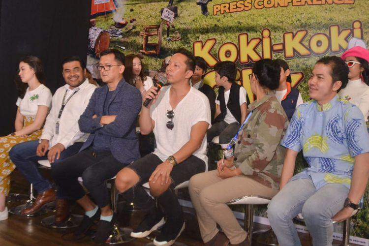 Para pemain, sutradara dan produser film Koki Koki Cilik 2 dalam jumpa pers di Gedung MNC Kebon Sirih, Jakarta Pusat, Selasa (1/8/2019).