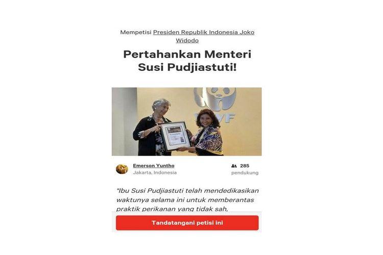 Sebuah petisi online berupa dukungan terhadap Menteri Kelautan dan Perikanan Susi Pudjiastuti muncul di situs web Change.org.