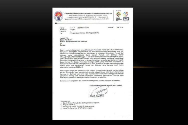 Surat Kemenpora yang ditujukan kepada Roy Suryo beredar di media sosial. Kemenpora menagih Roy mengembalikan 3.226 barang milik negara
