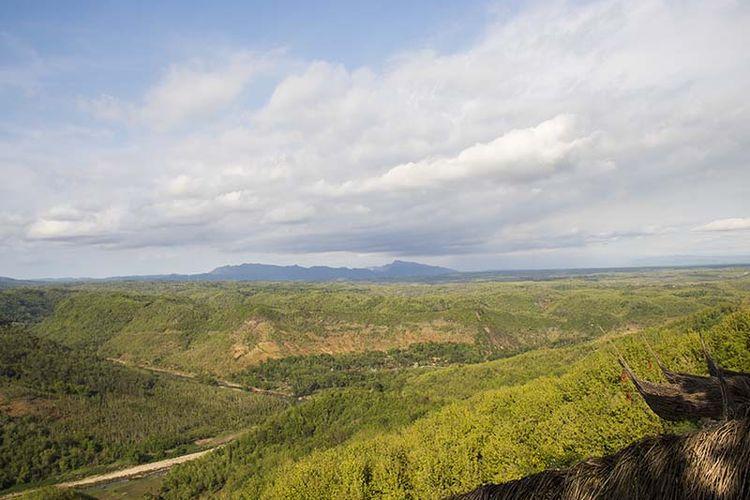 Spot panorama di Watu Payung, Panggang berupa perbukitan hijau yang begitu indah