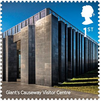 Perangko Giants Causeway Visitor Centre yang dirancang Heneghan Peng Architect.