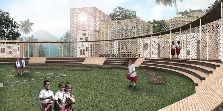 Ilustrasi digital karya firma Budi Pradono Architect berjudul Sekolah Morotai. Foto: BPA studio