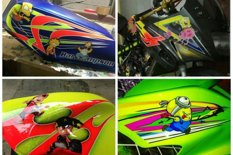 Sejumlah motor sport yang dicorak tokoh kartun. Motif ini banyak diminati. (Foto: dokumentasi R3 painting).