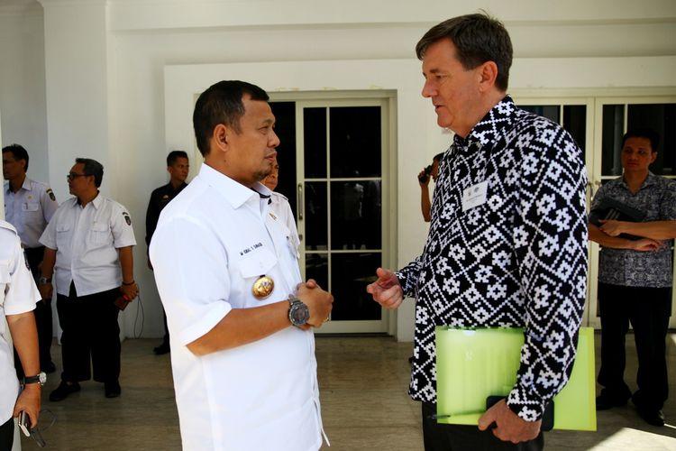 Pj Wali Kota Makassar M Iqbal S Suhaeb bertemu dengan Konsulat Jenderal Australia di Makassar di Baruga Karaeng Pattingalloang, Rabu (15/5/2019).