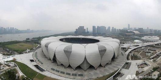 Pembangunan Hangzhou Olympic Sports Centre di China.