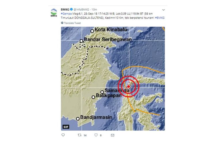 Gempa dengan kekuatan magnitudo 7,7 melanda wilayah Donggala, Sulawesi Tengah, Jumat (28/9/2018)