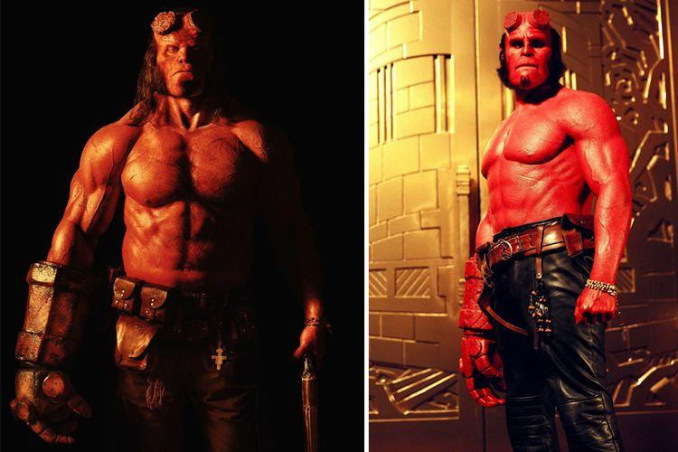 Hellboy versi Harbour (kiri) dan Hellboy versi Pearlman