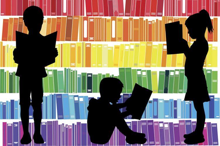 Ilustrasi buku, anak, dan perpustakaan.