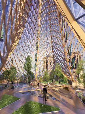 Desain konsep pertanian aquaponik di atap Katedral Notre-Dame.