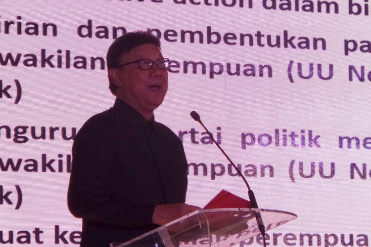 Menteri Dalam Negeri Tjahjo Kumolo dalam workshop KPPG di Hotel Sultan, Senayan, Jakarta, Sabtu (26/8/2017).