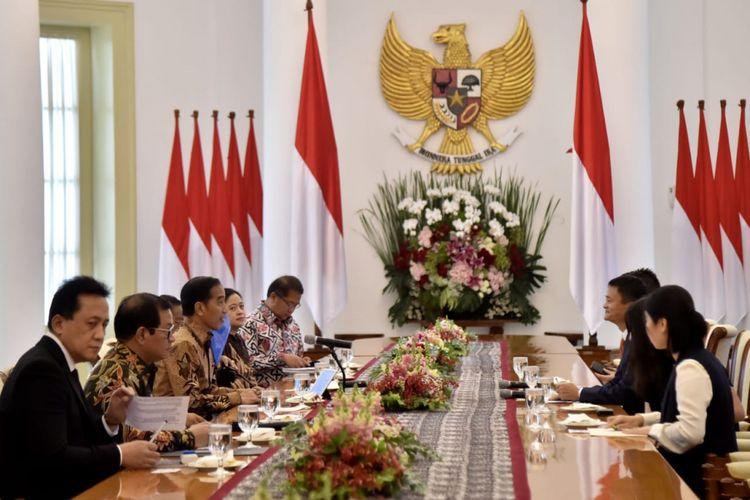 Presiden Joko Widodo bertemu pendiri sekaligus Executive Chairman Alibaba Group Jack Ma, di Istana Kepresidenan Bogor, Sabtu (1/9/2018).