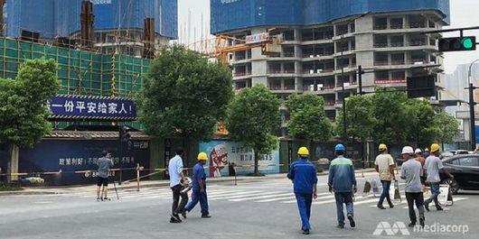Pembangunan gedung-gedung baru di Qianjiang Century City, China.
