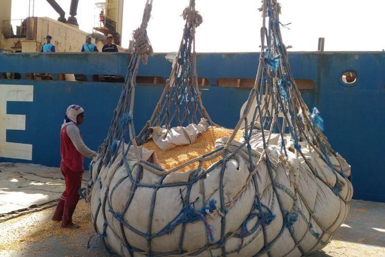 Kementerian Pertanian melepas ekspor jagung dari Sumbawa di Pelabuhan Sumbawa Besar, NTB, Selasa (20/3/2018)