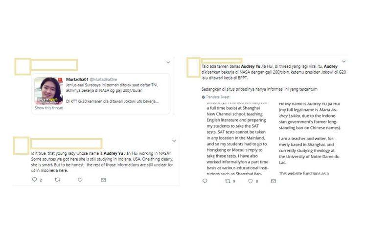 Twit yang menyebar soal Audrey Yu Jia Hui. Informasi yang menyebar di media sosial tak sepenuhnya benar. Ada yang hoaks, dan ada yang fakta.