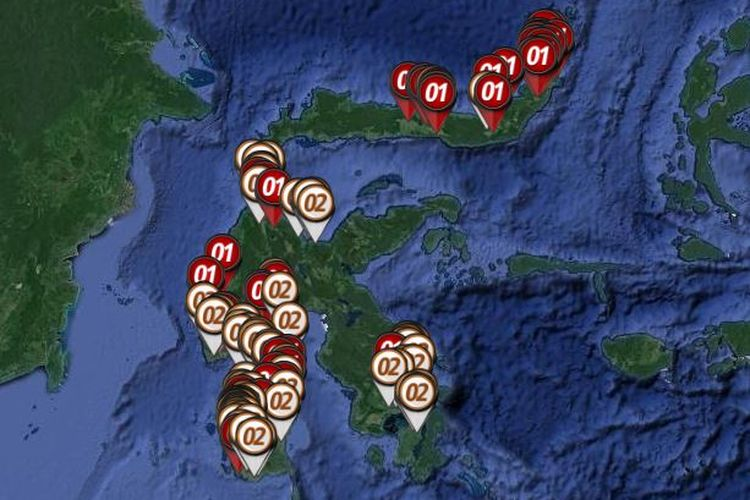 Peta sebaran hitung cepat atau quick count Pilpres 2019 yang dirilis oleh Litbang Kompas pada Rabu (17/4/2019) hingga pukul 23.00 WIB di Pulau Sulawesi.