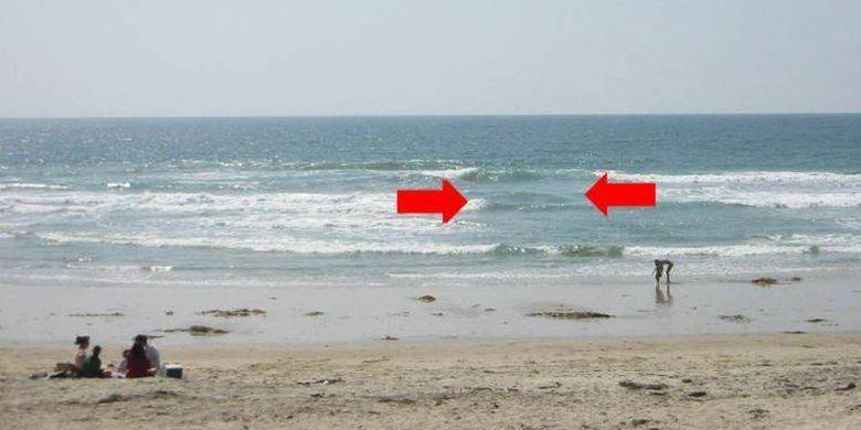 Ilustrasi pertemuan dua arus susur pantai saat terjadi boleran atau rip current yang terjadi di pantai.