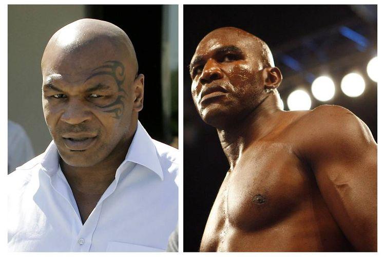 Mike Tyson (kiri) dan Evander Holyfield (kanan)