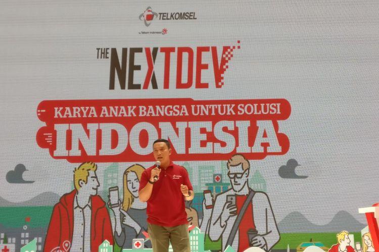 Ketut Anom Jatmika, Manager Youth and Community Jawa Barat PT. Telkomsel, dalam memberikan pemaparan soal The NextDev, Sabtu (9/9/2017)