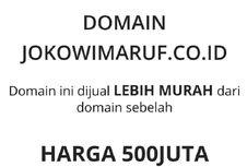 Mahasiswa Ini Banderol Situs jokowimaruf.co.id Rp 500 Juta