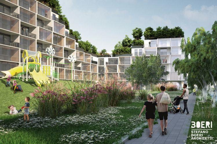 Struktur bangunan yang dirancang mengalir tersebut memang dibangun agar setiap teras apartemen dapat digunakan sebagai taman.