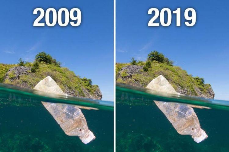 Perbandingan sampah plastik di dua masa yang berbeda, dia tidak berubah.