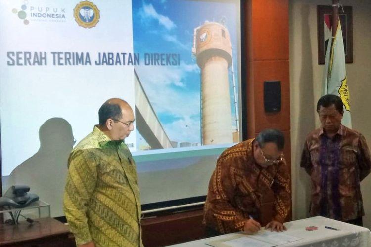 Serah terima jabatan direktur utama PT Pupuk Iskandar Muda, Aceh Utara, di Jakarta, Selasa (3/7/2018)