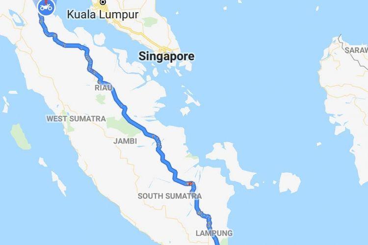 Perjalanan sejauh 1.822 kilometer yang sudah ditempuh oleh Gunadi selama melintas di Pulau Sumatera. Gunadi adalah seorang biker Indonesia yang sedang dalam misi mencapai Himalaya dengan motor Viar Vortex 250.