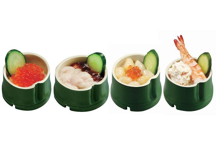 Serial menu Bamboo Princess: Telur ikan Salmon, Shirako, Telur ikan Salmon roe, Udang, dan clams, dan banyak lagi.