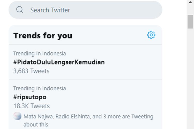 Trending Topic di Twitter, Minggu (7/7/2019)