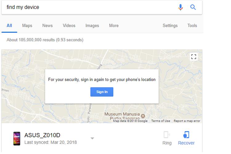 Untuk melacak perangkat Android, ketik find my device atau temukan perangkat saya di laman Google.