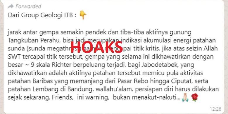 Hoaks yang beredar pasca gempa Banten Jumat (02/08/2019)