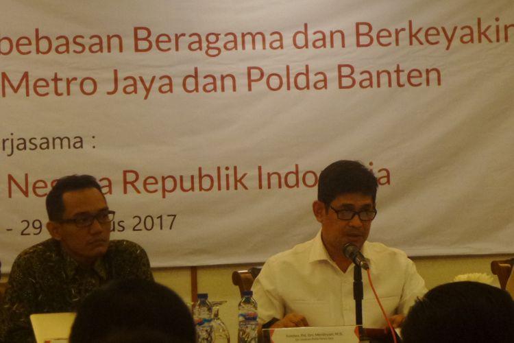 Diskusi bertajuk Peran Polri dalam Melindungi Kebebasan Beragama dan Berkeyakinan di Wilayah Hukum Polda Metro Jaya dan Polda Banten di Jakarta, Selasa (29/8/2017).