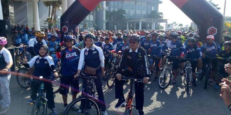 Lebih dari 2000-an orang mengikuti Sepeda Nusantara 2018 yang berlangsung di Kota Batu, Malang, Minggu (18/11/2018).