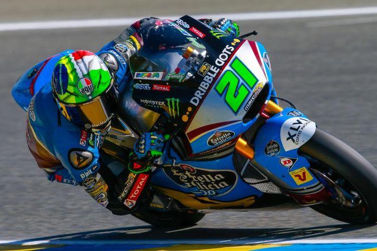 Pebalap Marc VDS asal Italia, Franco Morbidelli saat menjalani tes pramusim MotoGP 2018 di Sirkuti Ricardo Tormo, Valencia, Selasa (14/11/2017).