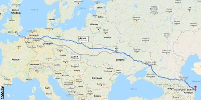 Rute perjalanan London, Inggris ke Baku, Azerbaijan yang harus ditempuh pendukung Chelsea dan Arsenal yang ingin saksikan langsung final Liga Europa pada 29 Mei mendatang.