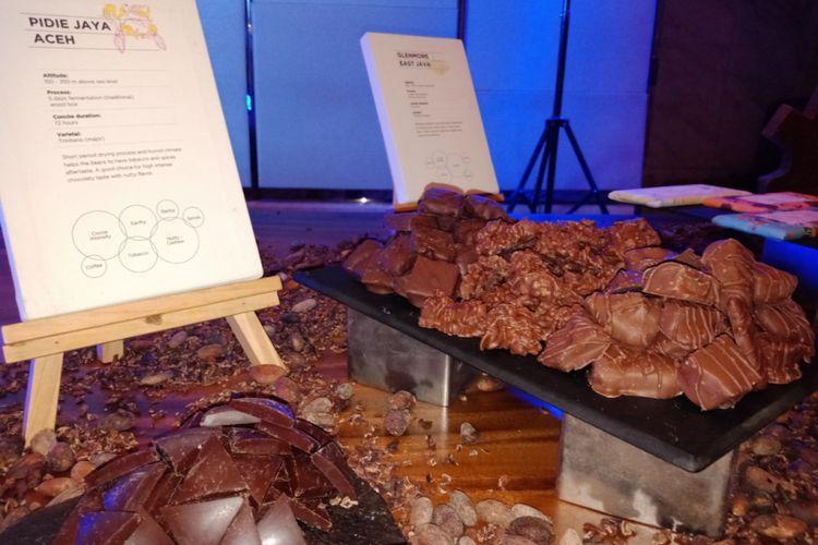 Cokelat Pidie Jaya, Aceh yang dipamerkan Pipitin Cocoa di The Westin, Jakarta, Selasa (31/7/2018).