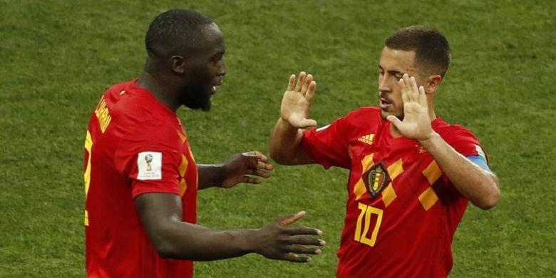 Romelu Lukaku dan Eden Hazard merayakan gol Belgia ke gawang Panama pada laga Grup G Piala Dunia 2018 di Sochi, 18 Juni 2018.