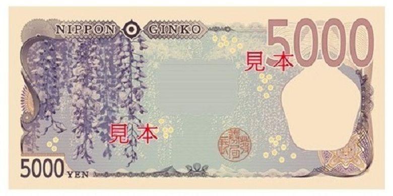 Bunga Wisteria pada sisi belakang uang kertas 5.000 yen.