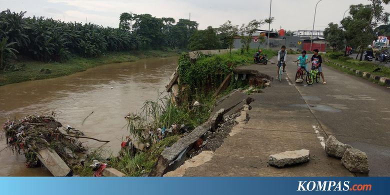 CPDW Turap Jalan Raya Cipendawa di Bekasi Amrol akibat Terkikis - Kompas.com