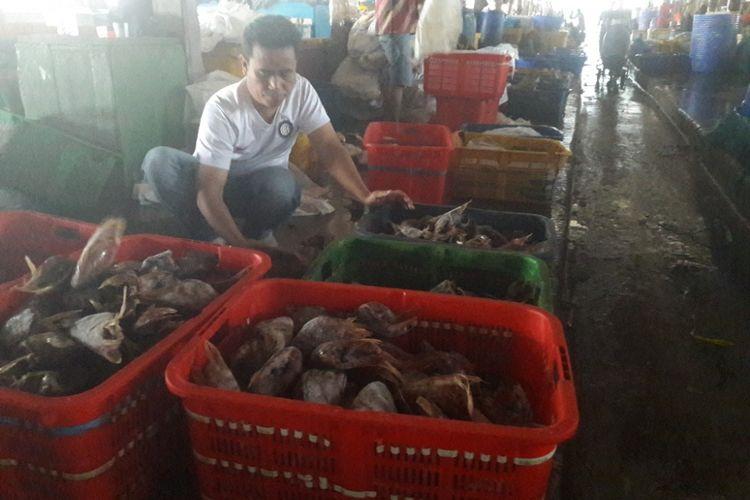 Seorang pedagang tengah memilah ikan dagangannya di Pasar Ikan Muara Baru, Jakarta Utara pada Kamis (8/2/2018)