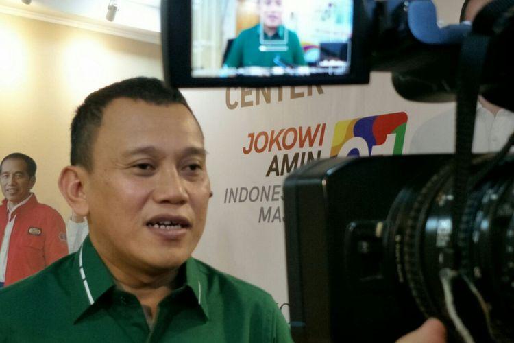 Wakil Ketua Tim Kampanye Nasional (TKN) Joko Widodo-Maruf Amin, Abdul Kadir Karding di Posko Cemara, Rabu (5/12/2018).