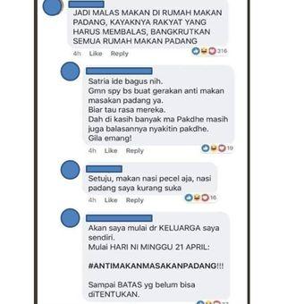 Tangkapan layar komentar di Facebook mengenai aksi pemboikotan nasi padang.(Facebook)