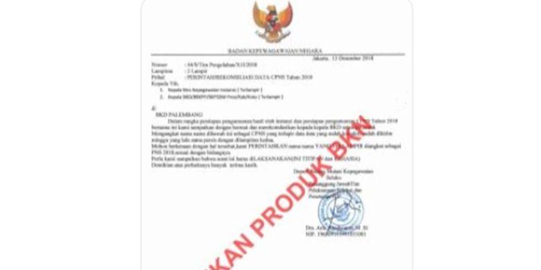 Berikut foto surat tersebut: Surat palsu mengatasnamakan Badan Kepegawaian Negara (BKN).